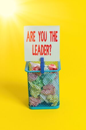 Conceptual hand writing showing Are You The Leader Question. Concept meaning asking for the qualification of being a good boss Trash bin crumpled paper clothespin office supplies yellow