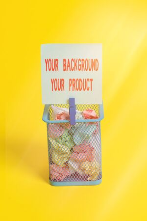 Conceptual hand writing showing Your Background Your Product. Concept meaning knowledge experiences discover business chances Trash bin crumpled paper clothespin office supplies yellow