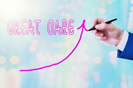 Writing note showing Great Care. Business concept for giving attention, consideration, love, and comfort towards others Digital arrowhead curve denoting growth development concept Zdjęcie Seryjne