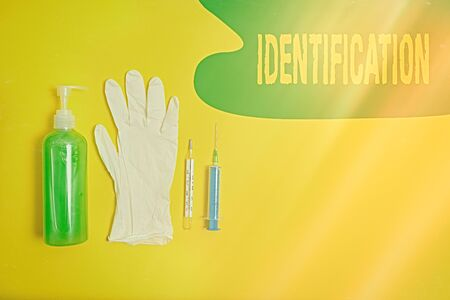 Word writing text Identification. Business photo showcasing an action or procedure to identify someone or something Primary medical precautionary equipments for health care protection Stok Fotoğraf