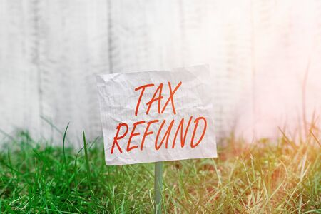 Conceptual hand writing showing Tax Refund. Concept meaning excess payment of paid taxes returned to business owners Plain paper attached to stick and placed in the grassy land 写真素材
