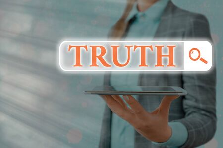Text sign showing Truth. Business photo text used to mean being in accord with fact reality or fidelity to standard Web search digital information futuristic technology network connection