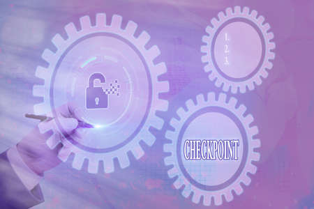 Writing note showing Checkpoint. Business concept for manned entrance, where travelers are subject to security checks Graphics padlock for web data information security application system