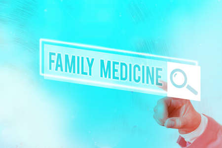 Conceptual hand writing showing Family Medicine. Concept meaning comprehensive health care for the individual and family Web search digital futuristic technology network connection