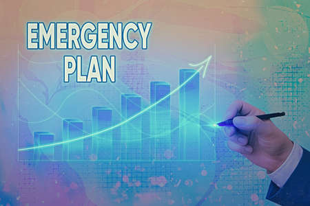 Handwriting text writing Emergency Plan. Conceptual photo instructions that outlines what workers should do in danger Arrow symbol going upward denoting points showing significant achievement