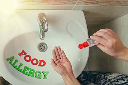 Handwriting text writing Food Allergy. Conceptual photo abnormal immune system response to allergen after eaten Handwashing procedures for decontamination and minimizing bacterial growth