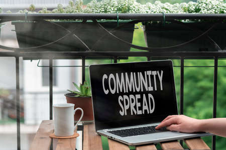 Handwriting text writing Community Spread. Conceptual photo dissemination of a highlycontagious disease within the local area Personal workplace overview with laptop device used for individual interest