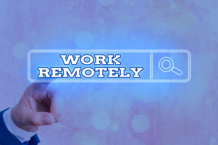 Writing note showing Work Remotely. Business concept for fresh working style where employees handles job away from the public Web search digital information futuristic technology network connection