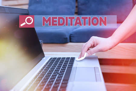 Text sign showing Meditation. Business photo showcasing achieve a mentally clear and emotionally calm and stable state Contamination within electronic gadgets sufaces controlled by disinfectant