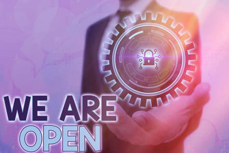 Writing note showing We Are Open. Business concept for no enclosing or confining barrier, accessible on all sides Graphics padlock for web data information security application system