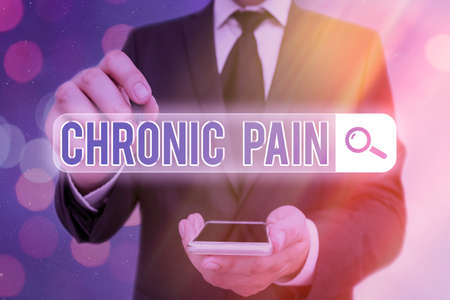 Word writing text Chronic Pain. Business photo showcasing discomfort that persists or progresses over a long period Web search digital information futuristic technology network connection