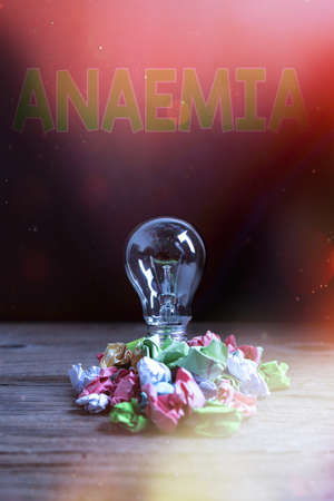 Text sign showing Anaemia. Business photo showcasing a condition marked by a deficiency of hemoglobin in the blood Realistic colored vintage light bulbs, idea sign solution thinking concept