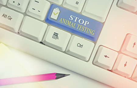 Text sign showing Stop Animal Testing. Business photo showcasing put an end on animal experimentation or research White pc keyboard with empty note paper above white key copy space Banque d'images