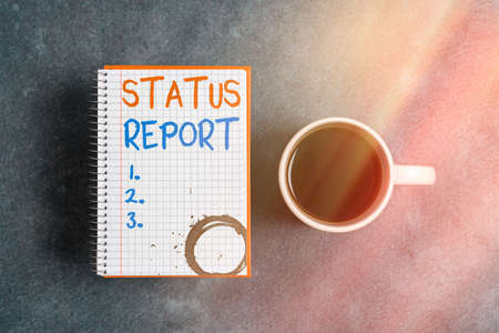 Text sign showing Status Report. Business photo text summarizes the particular situation as of a stated period Paper accesories with digital smartphone arranged on different background Imagens