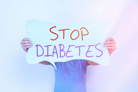 Word writing text Stop Diabetes. Business photo showcasing prevent the disease of elevated glucose level in the blood Empty bubble chat sticker notes mock up emphasizing personal idea concept Stock Photo