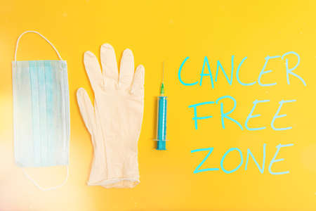 Text sign showing Cancer Free Zone. Business photo text supporting cancer patients and raising awareness of cancer Primary medical precautionary equipments for health care protection