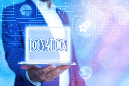 Text sign showing Donation. Business photo showcasing something that is given to a charity, especially a sum of money System administrator control, gear configuration settings tools concept Stockfoto