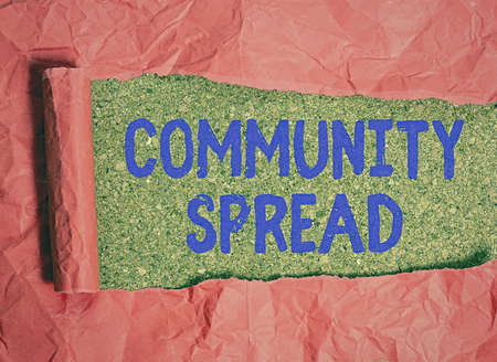 Conceptual hand writing showing Community Spread. Concept meaning dissemination of a highlycontagious disease within the local area Rolled ripped torn cardboard above a wooden classic table