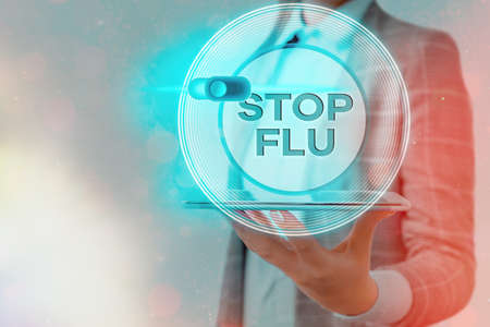 Text sign showing Stop Flu. Business photo showcasing put an end of the viral infection of your lungs and airways Graphics padlock for web data information security application system Zdjęcie Seryjne