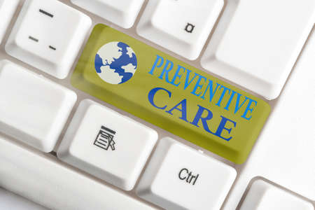 Word writing text Preventive Care. Business photo showcasing the care you receive to prevent illnesses or diseases White pc keyboard with empty note paper above white key copy space