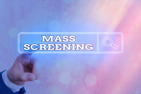 Writing note showing Mass Screening. Business concept for health evaluation performed at a large amount of population Web search digital information futuristic technology network connection