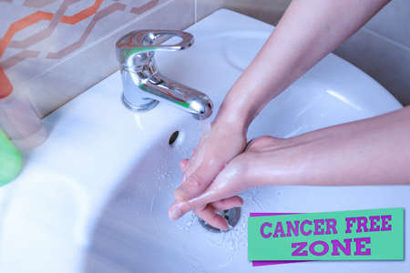 Word writing text Cancer Free Zone. Business photo showcasing supporting cancer patients and raising awareness of cancer Handwashing procedures for decontamination and minimizing bacterial growth