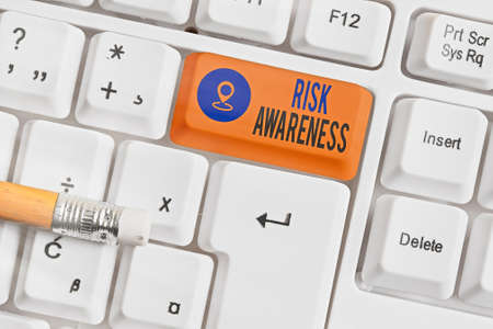 Writing note showing Risk Awareness. Business concept for recognizing factors that may cause a lifethreatening effect White pc keyboard with empty note paper above white key copy space