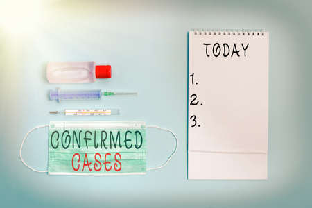 Conceptual hand writing showing Confirmed Cases. Concept meaning set of circumstances or conditions requiring action Set of medical equipment with notepad for health assessment