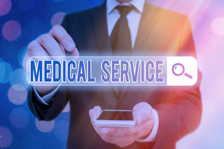 Word writing text Medical Service. Business photo showcasing care and treatment provided by a licensed medical provider Web search digital information futuristic technology network connection