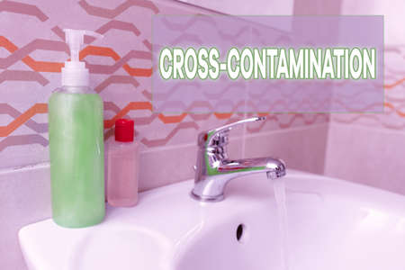 Text sign showing Cross Contamination. Business photo text Unintentional transmission of bacteria from one substance to another Handwashing procedures for decontamination and minimizing bacterial growth
