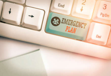 Handwriting text writing Emergency Plan. Conceptual photo instructions that outlines what workers should do in danger White pc keyboard with empty note paper above white key copy space
