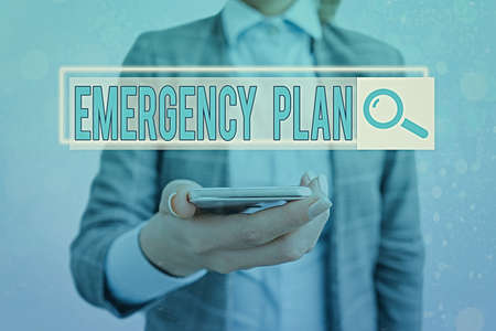 Text sign showing Emergency Plan. Business photo showcasing instructions that outlines what workers should do in danger Web search digital information futuristic technology network connection
