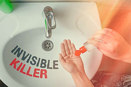 Text sign showing Invisible Killer. Business photo text presence into the air of a substance which are harmful Handwashing procedures for decontamination and minimizing bacterial growth Standard-Bild