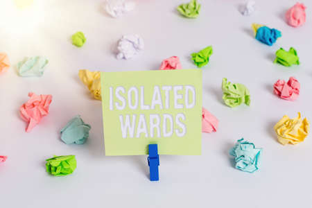 Word writing text Isolated Wards. Business photo showcasing far away from places or showing and having minimal contact Colored crumpled papers empty reminder white floor background clothespin