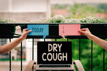 Conceptual hand writing showing Dry Cough. Concept meaning cough that are not accompanied by phlegm production or mucus Empty bubble chat sticker mock up emphasizing personal idea
