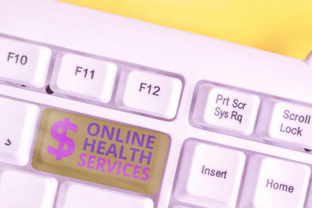Handwriting text writing Online Health Services. Conceptual photo healthcare delivered and enhanced through the internet White pc keyboard with empty note paper above white key copy space