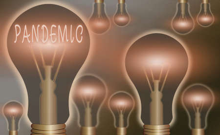 Conceptual hand writing showing Pandemic. Concept meaning occurring over a wide area affecting high proportion of population Realistic colored vintage light bulbs, idea sign solution