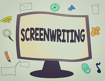 Conceptual hand writing showing Screenwriting. Concept meaning the art and craft of writing scripts for media communication Web Application Software icons Surrounding Computer Monitor