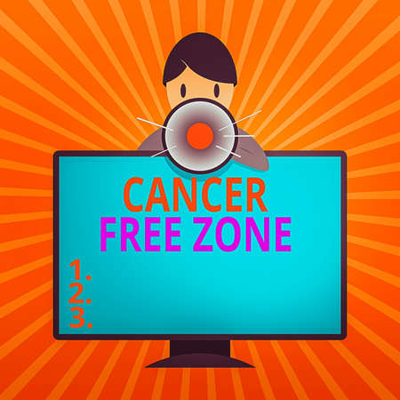 Conceptual hand writing showing Cancer Free Zone. Concept meaning supporting cancer patients and raising awareness of cancer Man Behind mounted PC Monitor Talking and Holding Megaphone Foto de archivo