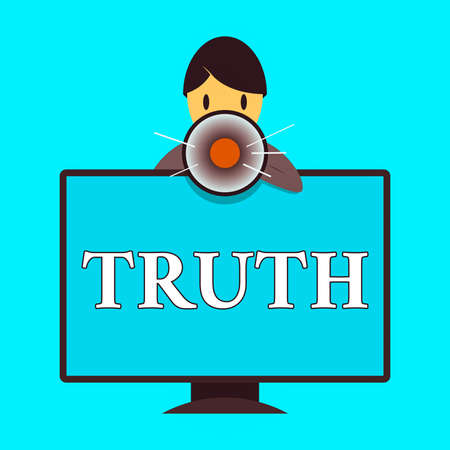 Word writing text Truth. Business photo showcasing used to mean being in accord with fact reality or fidelity to standard Man Standing Behind mounted PC Monitor Screen Talking and Holding Megaphone Stok Fotoğraf