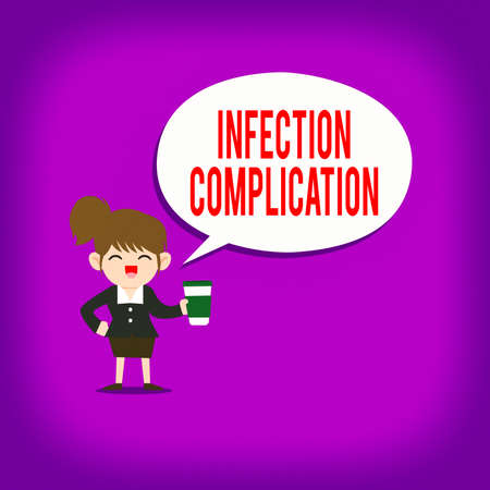Text sign showing Infection Complication. Business photo text unwanted reaction resulted from an immunosuppression Female Hu analysis Wearing Uniform Holding a coffee To Go Cup and Speech Bubble Banco de Imagens