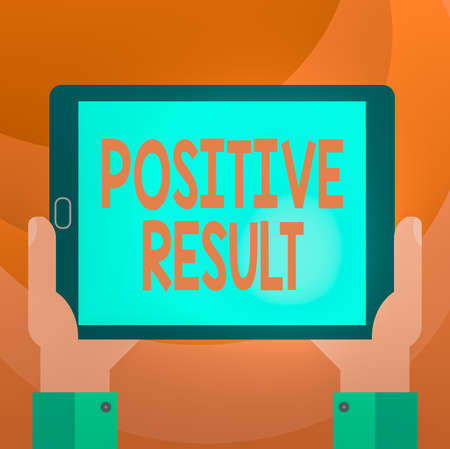 Text sign showing Positive Result. Business photo showcasing shows that an individual has the disease, condition, or biomarker Hu analysis Hand Holding Blank Screen Tablet Smartphone Display Unit photo