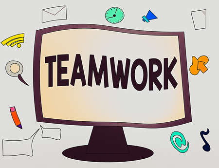 Conceptual hand writing showing Teamwork. Concept meaning the group s is collaborative effort to accomplish a common goal Web Application Software icons Surrounding Computer Monitor
