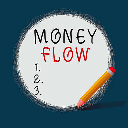 Conceptual hand writing showing Money Flow. Concept meaning it is an indicator of positive or negative in a current day Scribbling of circular lines Using Pencil White Solid Circle Reklamní fotografie