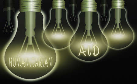 Writing note showing Humanitarian Aid. Business concept for immediate assistance provided after natural and manmade disaster Realistic colored vintage light bulbs, idea sign solution