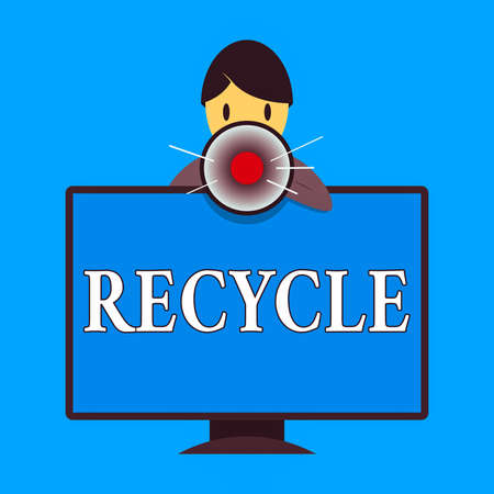 Word writing text Recycle. Business photo showcasing process of converting waste materials into new materials and objects Man Standing Behind mounted PC Monitor Screen Talking and Holding Megaphone