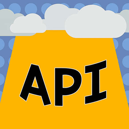 Conceptual hand writing showing Api. Concept meaning set of routines, protocols, and tools for building software applications Blank Clouds Halftone above Rectangular Board Text space