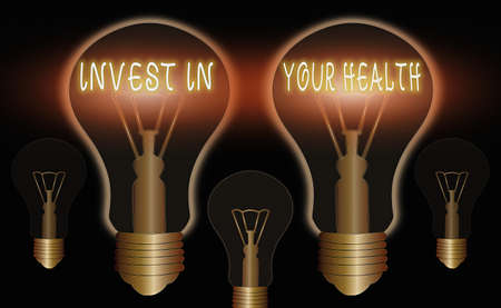 Writing note showing Invest In Your Health. Business concept for put money on maintenance or improvement of your health Realistic colored vintage light bulbs, idea sign solution Archivio Fotografico