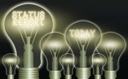 Conceptual hand writing showing Status Report. Concept meaning summarizes the particular situation as of a stated period Realistic colored vintage light bulbs, idea sign solution