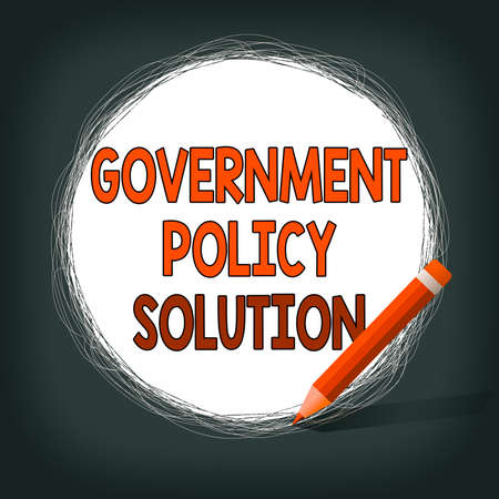 Writing note showing Government Policy Solution. Business concept for designed game plan created in response to emergency disaster Scribbling of circular lines Using Pencil White Solid Circle Stok Fotoğraf